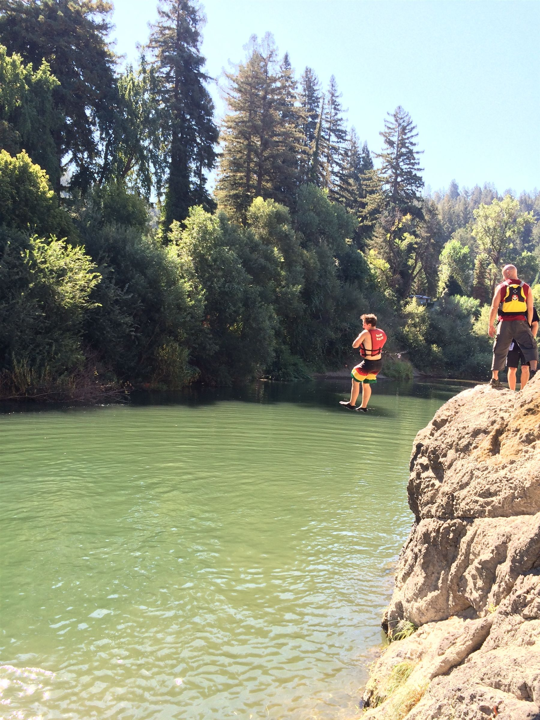 Jumping into the Russian River on the junior Outdoor Education trip!