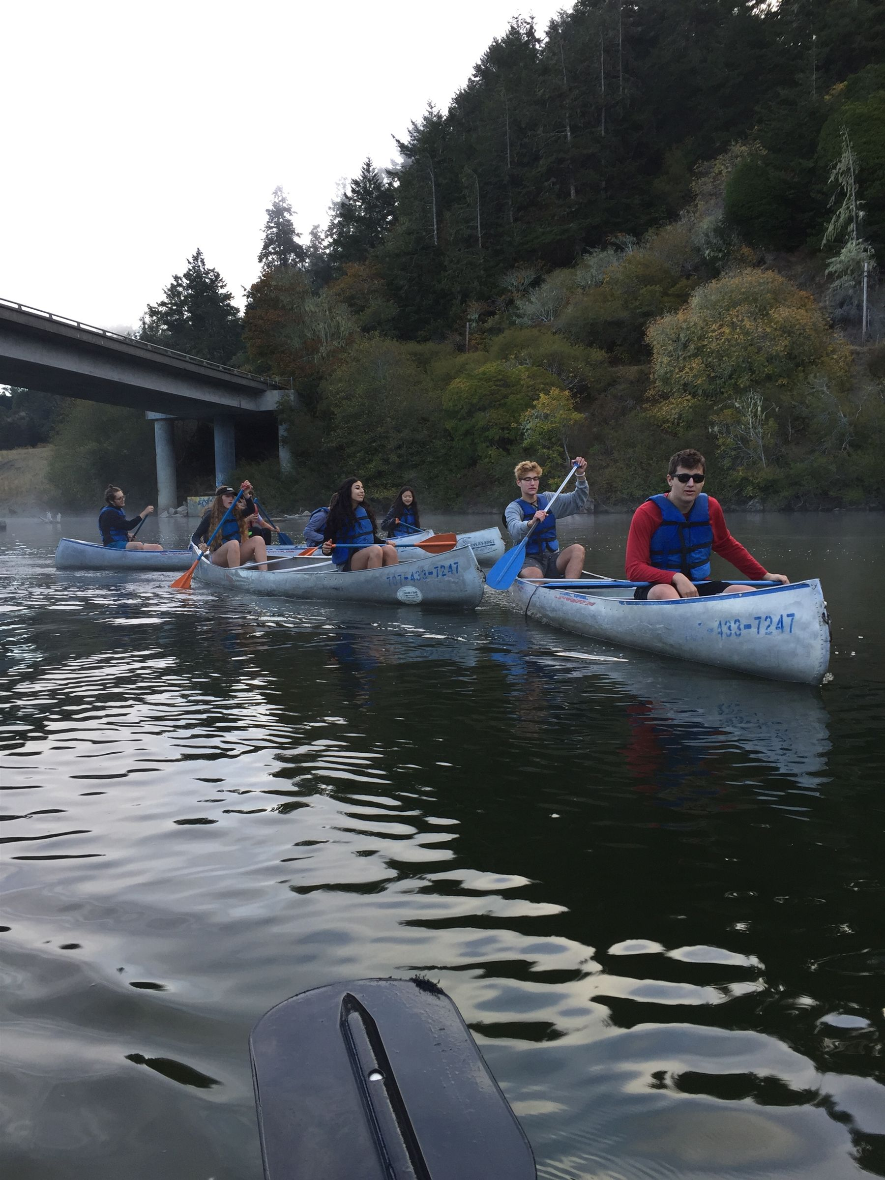 Juniors paddle down the Russian River to Jenner Beach in Northern California.