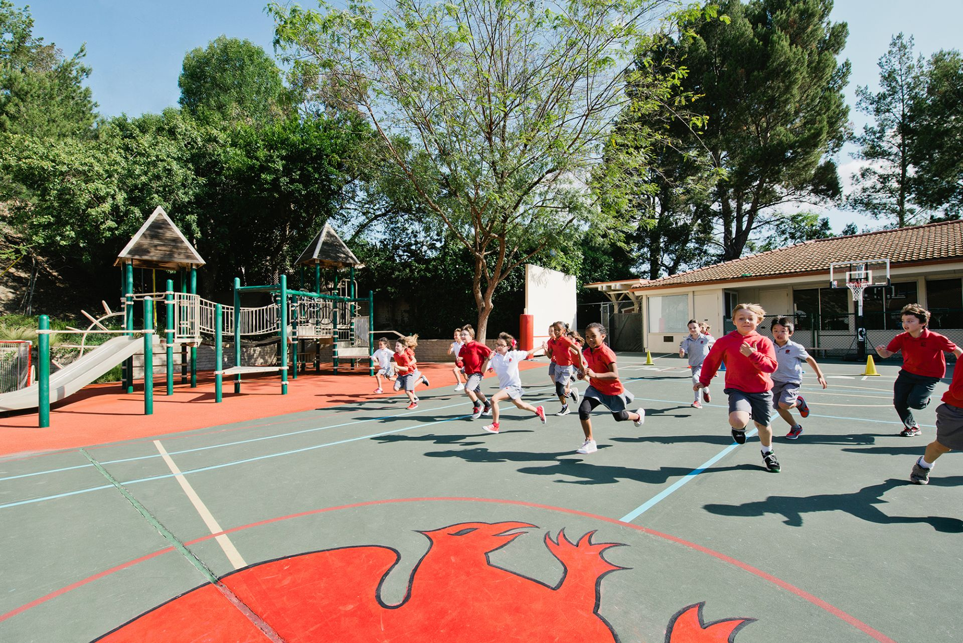 Physical education classes for kindergarten through second grade are held on the primary play yard.
