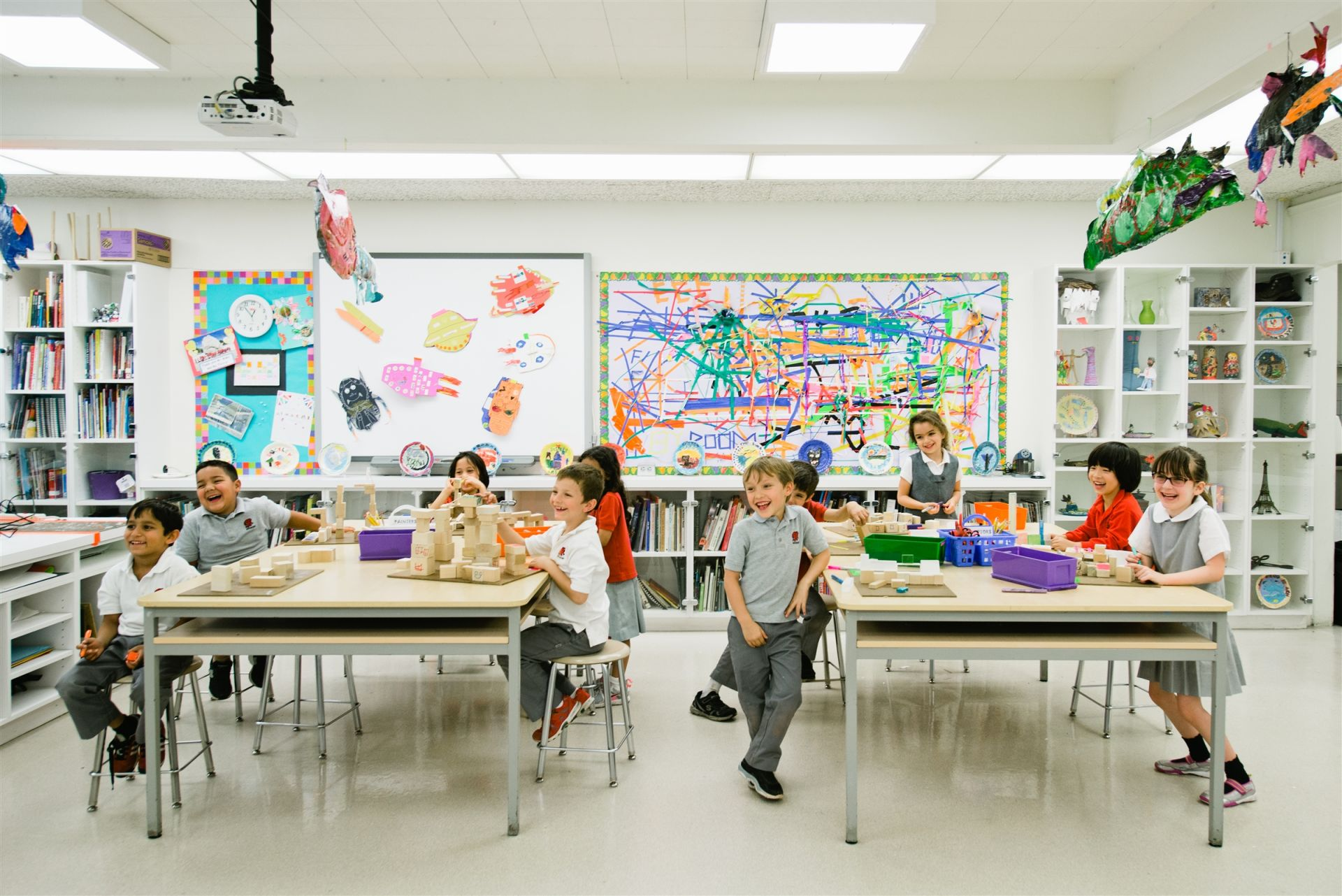 All Lower School art classes are held in the Lower School art room.