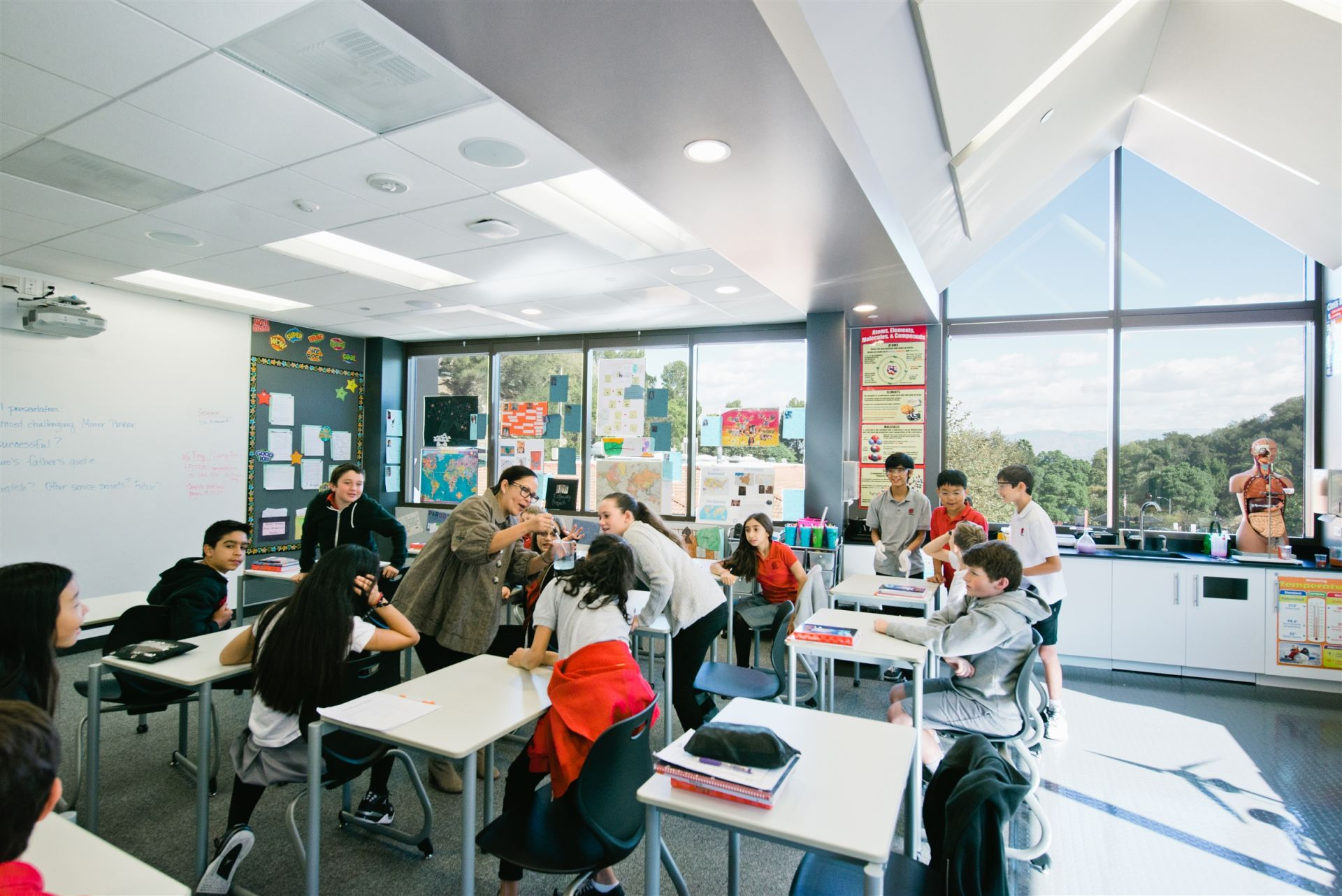 The sixth grade classrooms in The Marciano Family Academic and Performing Arts Building are set up for flexible classroom spaces: walls retract to make four classrooms into one large one.