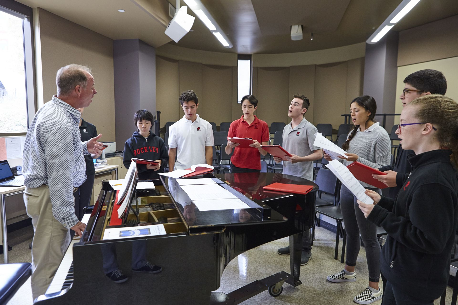The choir room in The Marciano Family Academic and Performing Arts Building serves grades four through twelve.