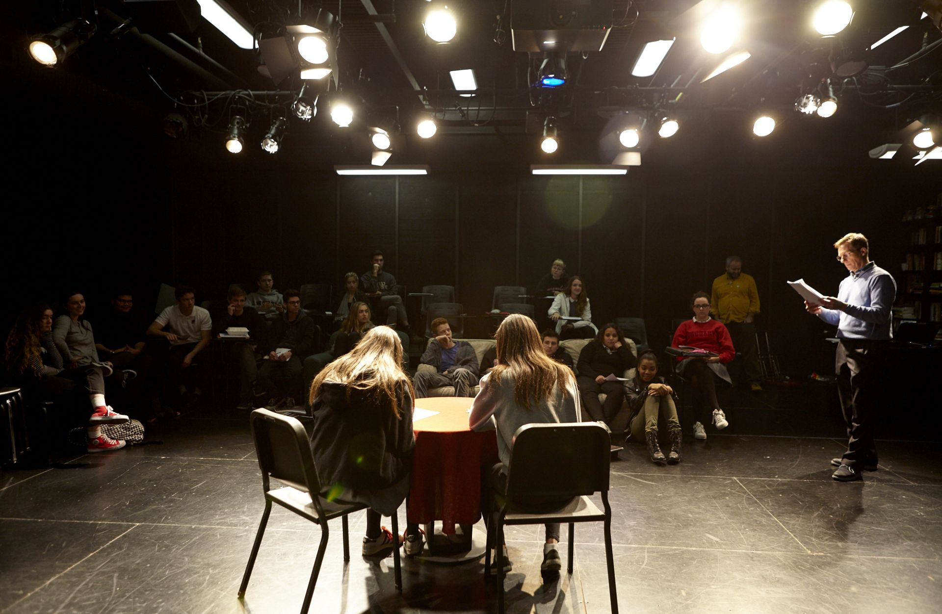 Middle and Upper School students take acting, improv, writing, and mindfulness classes, and rehearse for musicals and plays from within the Blackbox Theatre.
