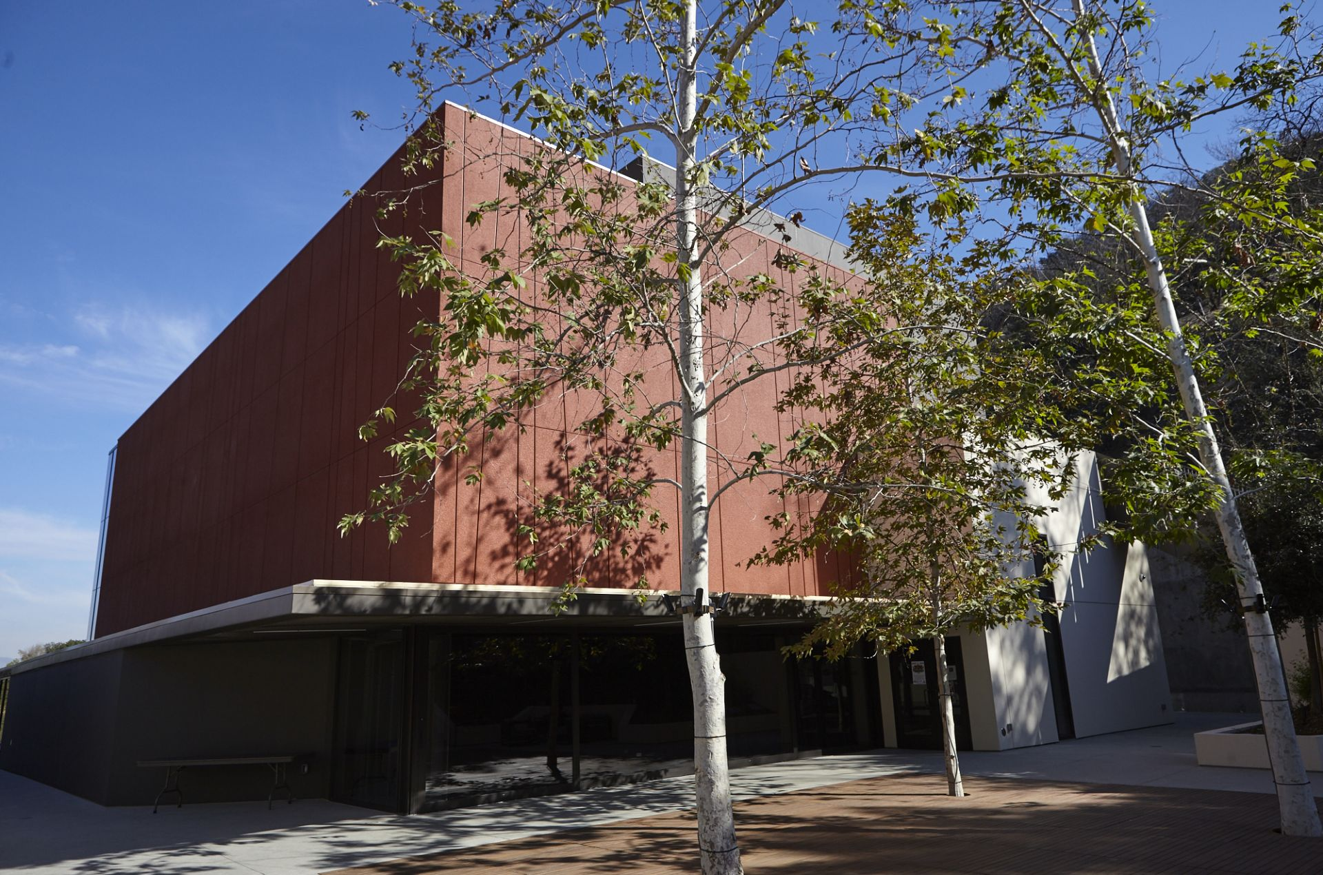 The Center for Community and the Arts was dedicated in fall 2016. It holds five classrooms, the English department offices, and a flexible theatre/assembly/event space.