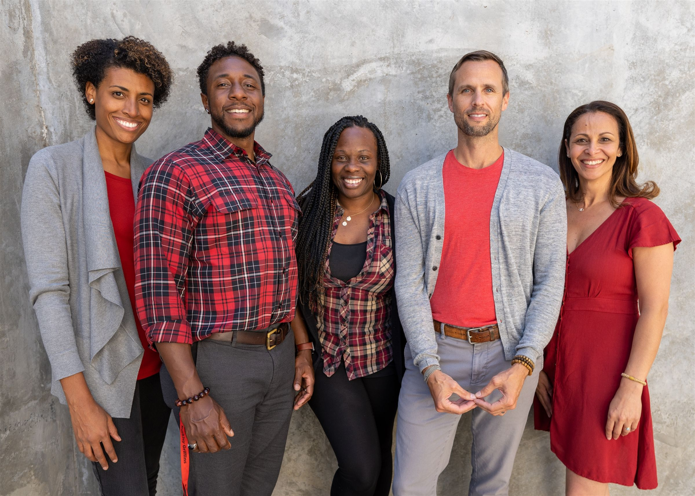 From left to right: Cydney Junius, Anthony Gaskins, Ralinda Watts, Chuck Neddermeyer, and Sabine Abadou