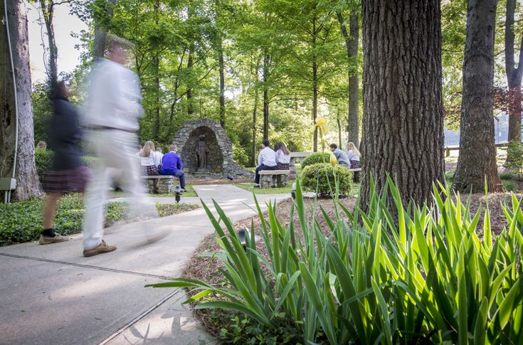 Father Ryan's campus grotto features a statue of Mary, and is a quiet location where students can spend time on spiritual reflection.
