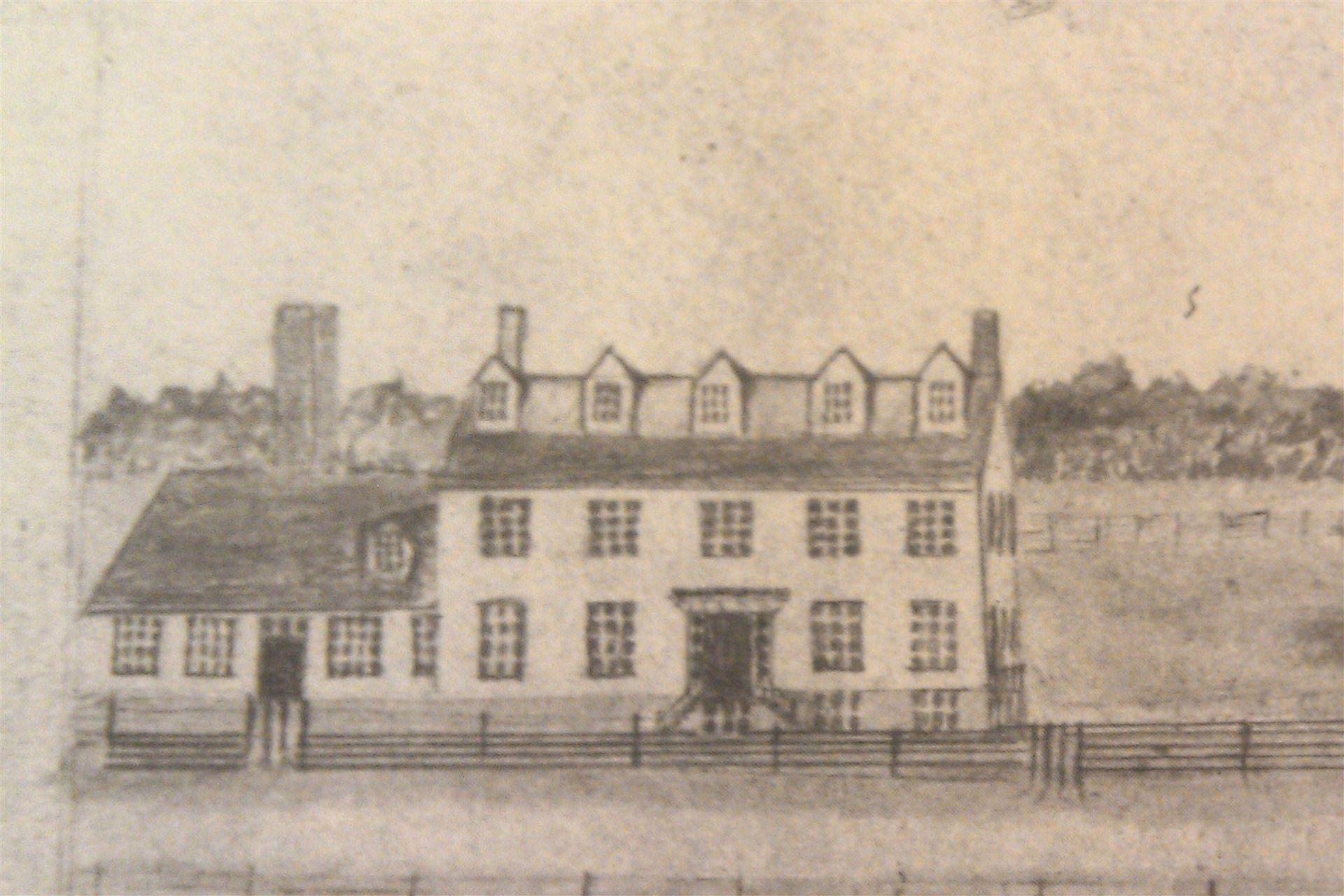 The original building is pictured here with the 1836 addition.