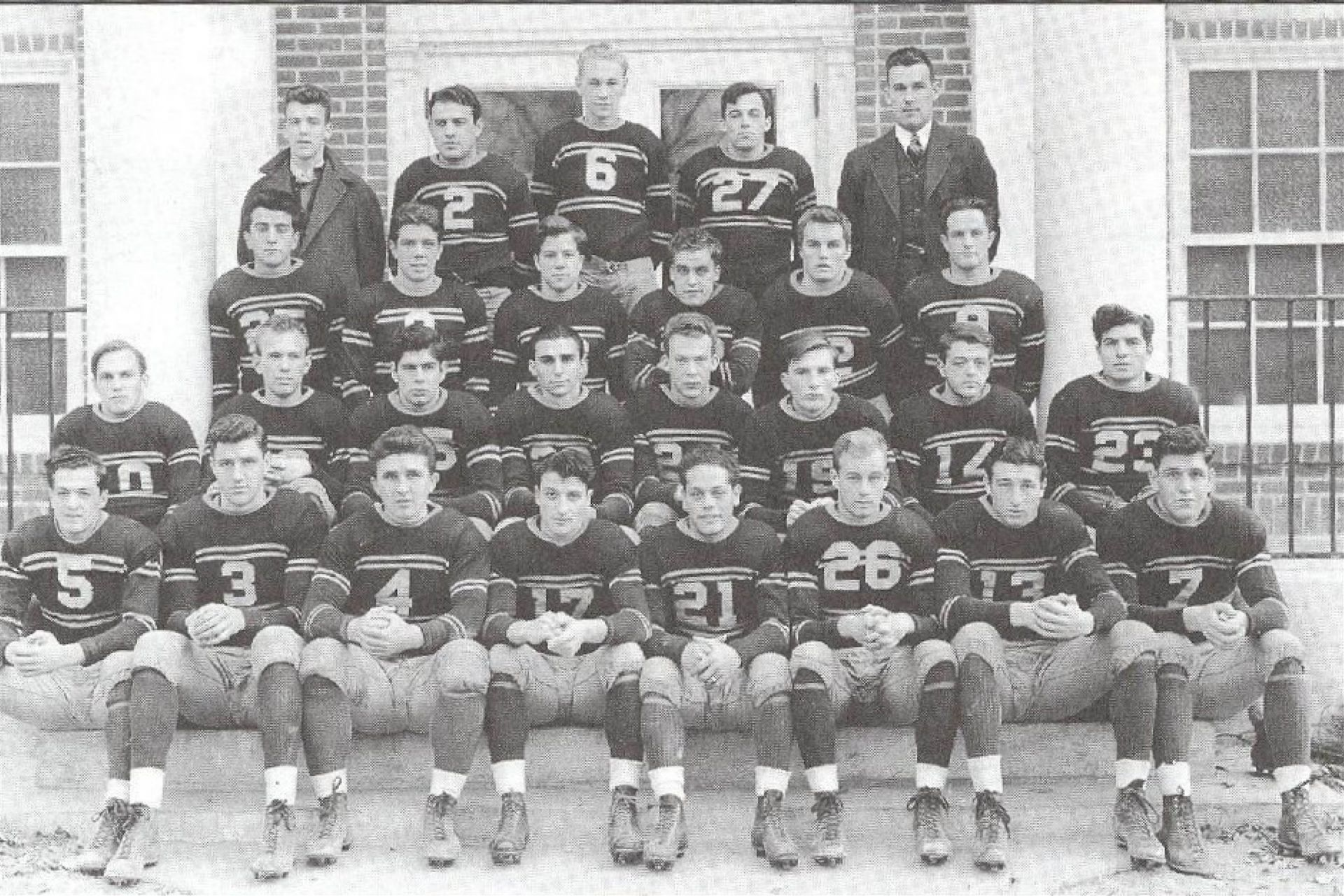 1939: The football team, which has been competing with other schools since 1893, has an undefeated season, a feat that they will repeat in 1962.