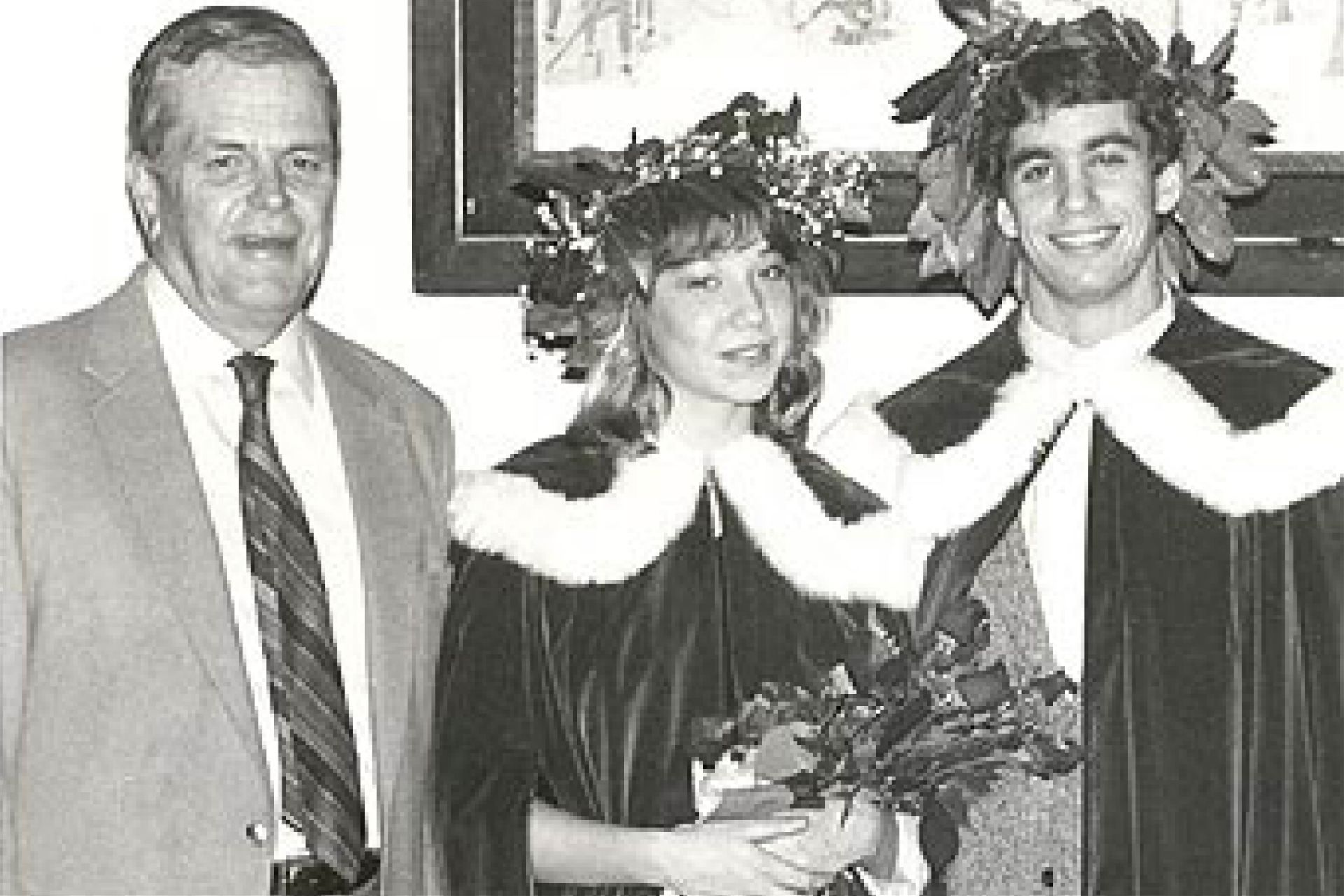 Don Jacobs (left) with the 1984 Winter Carnival King and Queen.