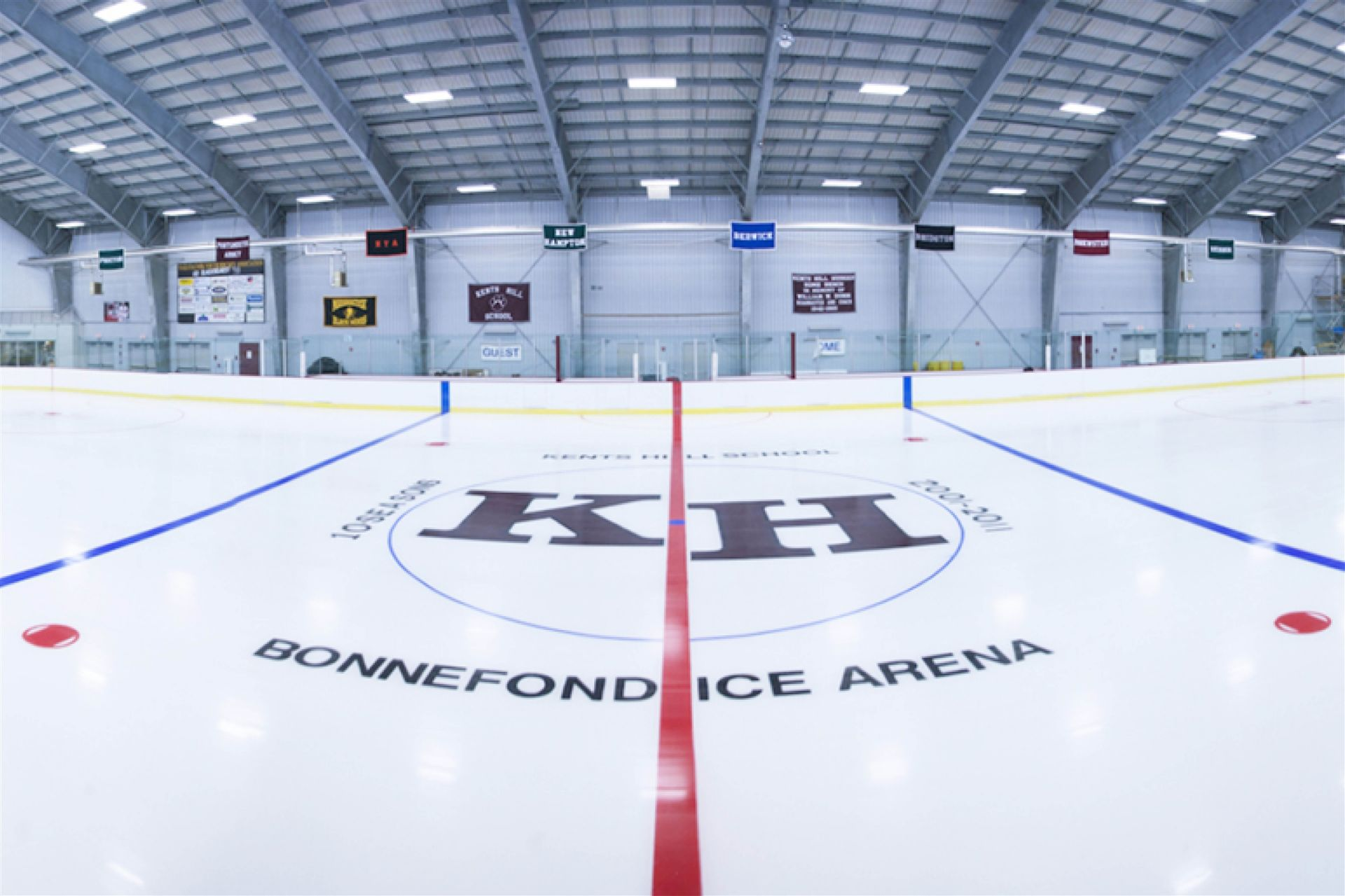 2011: The Rist and Joy Bonnefond Ice Arena is dedicated to the Bonnefond's for their dedication to the advancement of Kents Hill School during Mr. Bonnefond's tenure as Head of School.