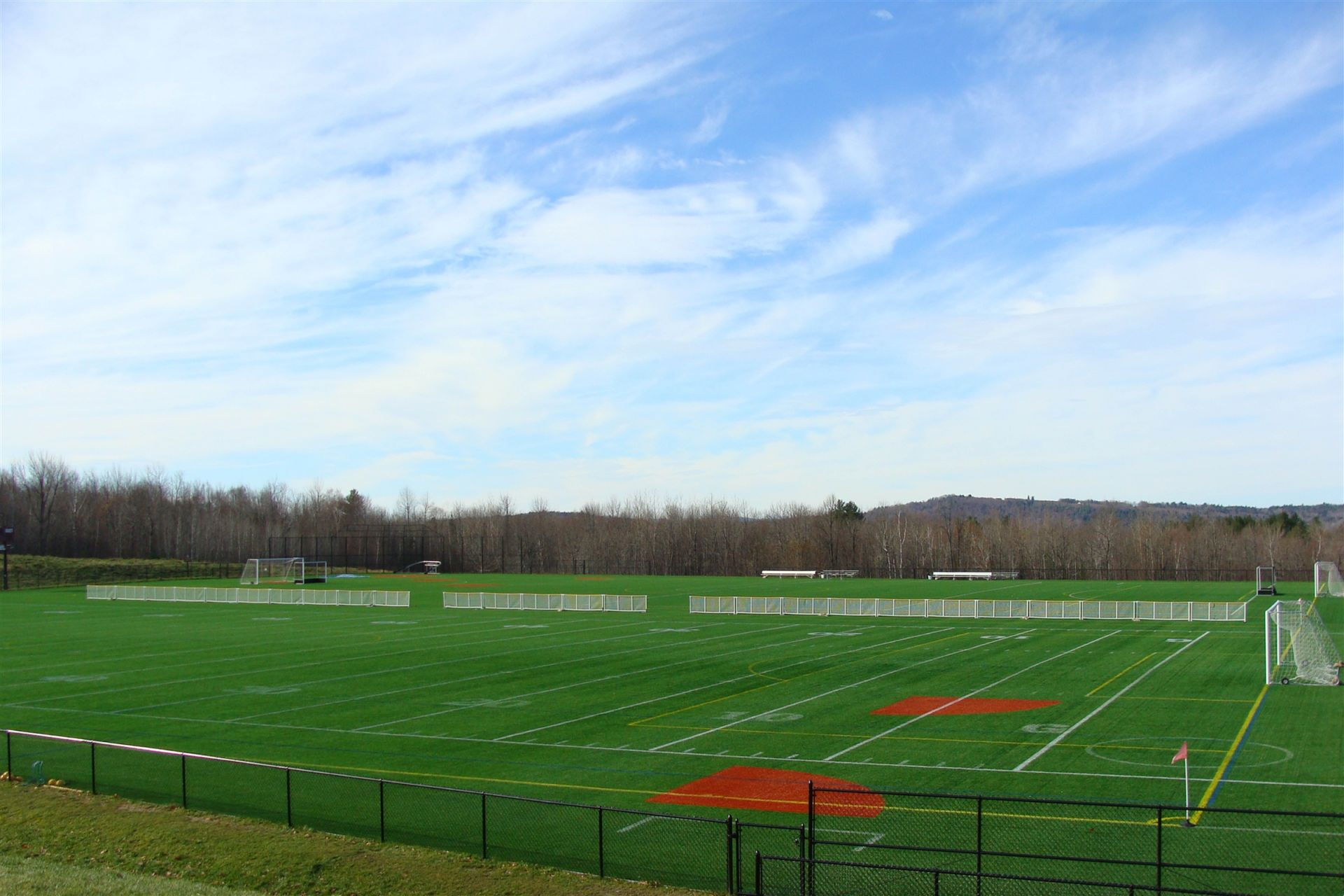 When the Ted Alfond and John Huard turf fields are dedicated in the fall of 2008 they are the largest contiguous athletic turf surface in New England.