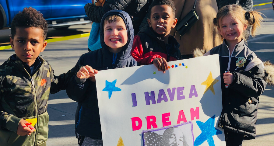 Lower School students at the 2020 Oklahoma City Martin Luther King, Jr. parade.