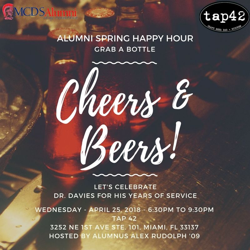 Join us for at the Spring Alumni Happy Hour at TAP 42 on Wednesday, April 25, 2018.