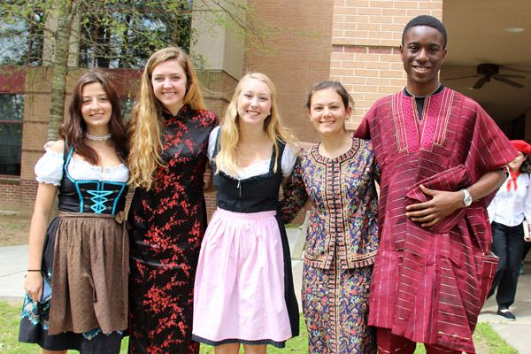 Upper School International Club students wearing international clothing.