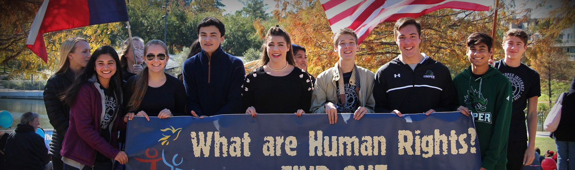 Upper School students march at the Human Rights Walk.