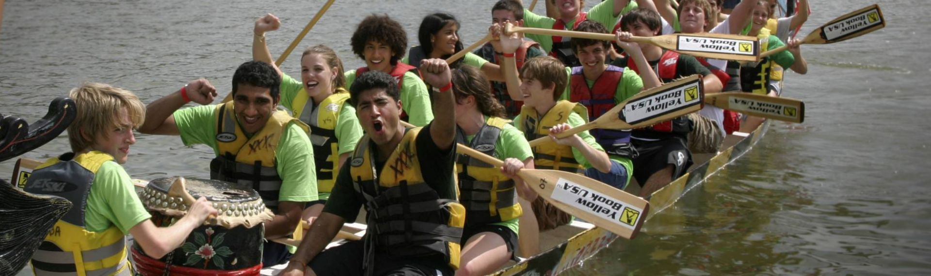 Upper School students participate in rowing team fundraiser event.