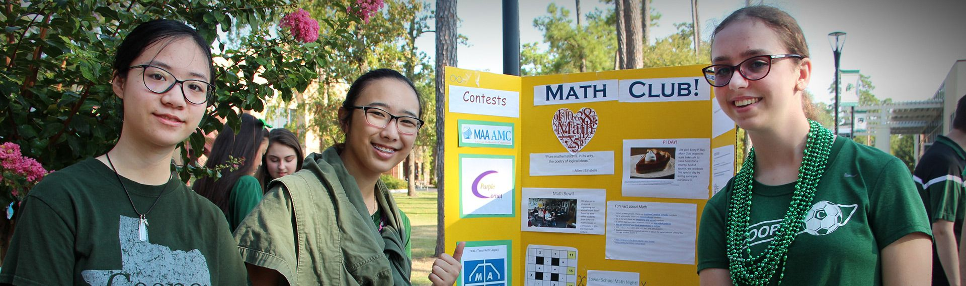 Upper School Math Club students pose at the annual Club Fair.