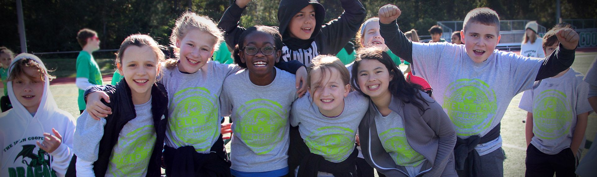 Middle School students pose at field day.