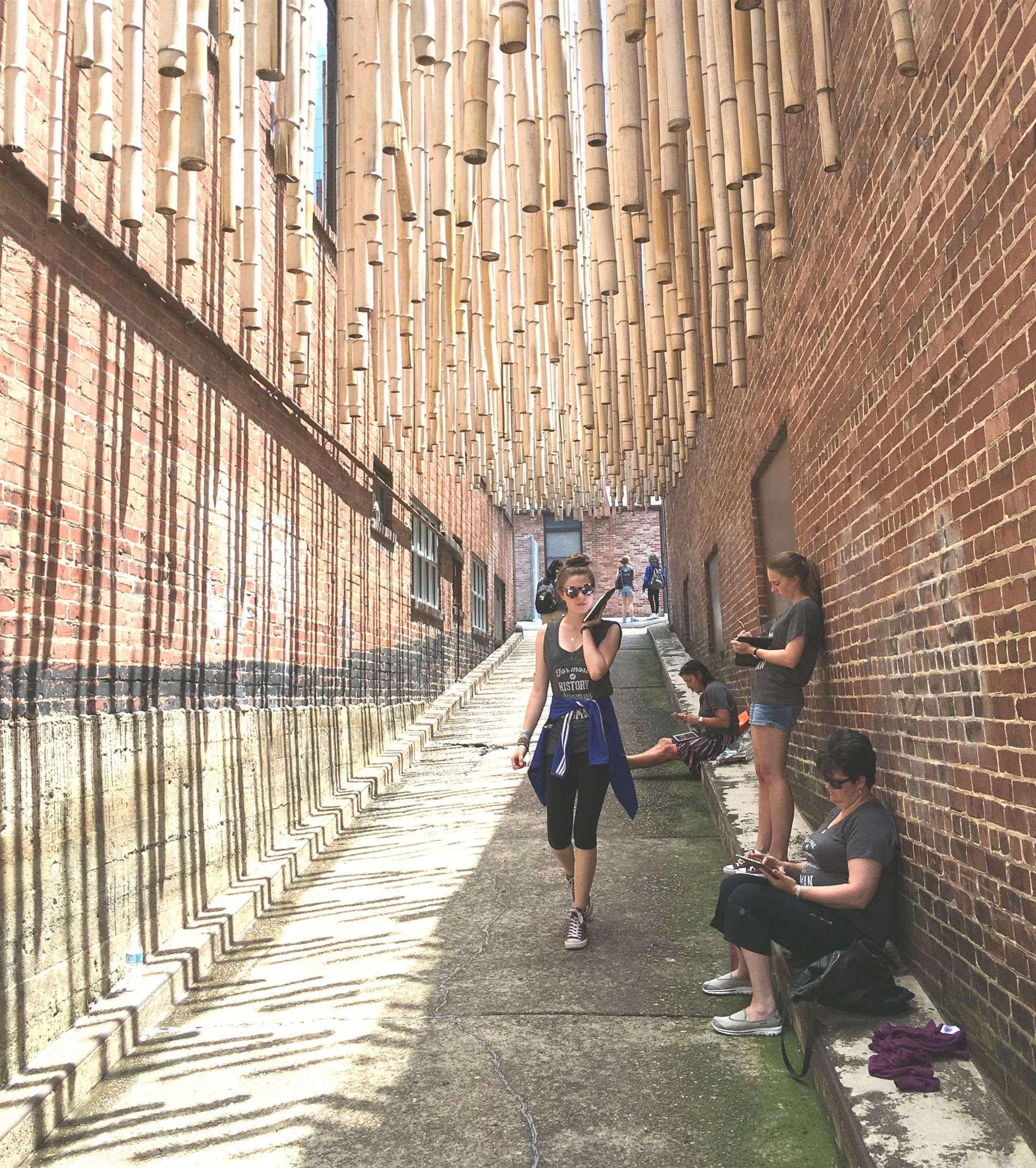 Girls exploring designed alleyway in Chattanooga