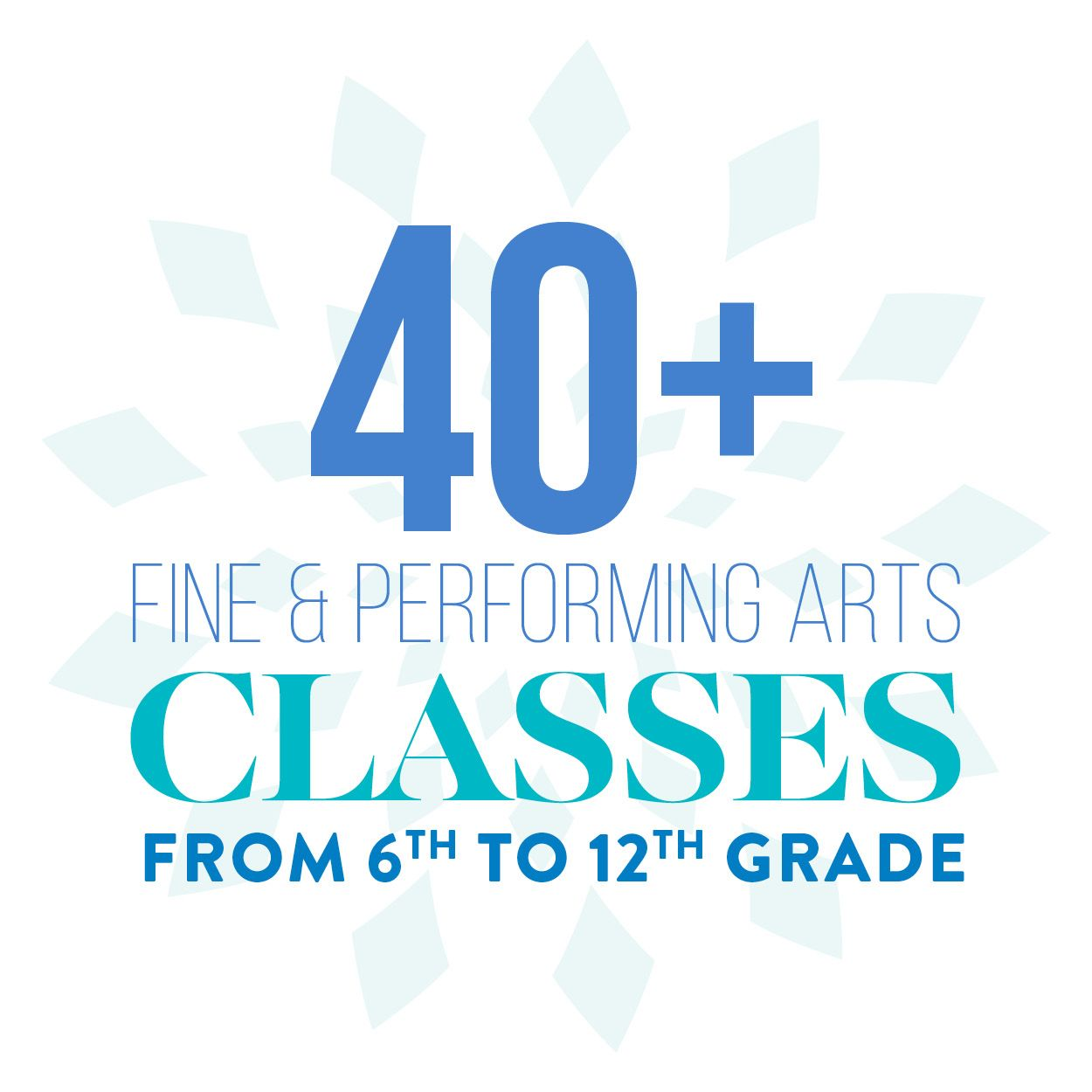 40+ Fine and Performing Arts classes from 6th to 12th grade