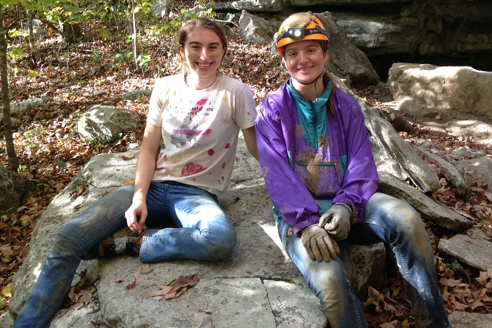 GPS girls posing on rock after caving