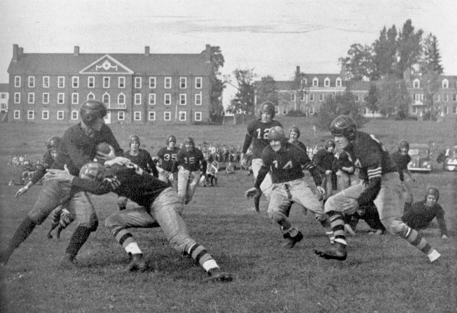 A football game at Millbrook in 1945