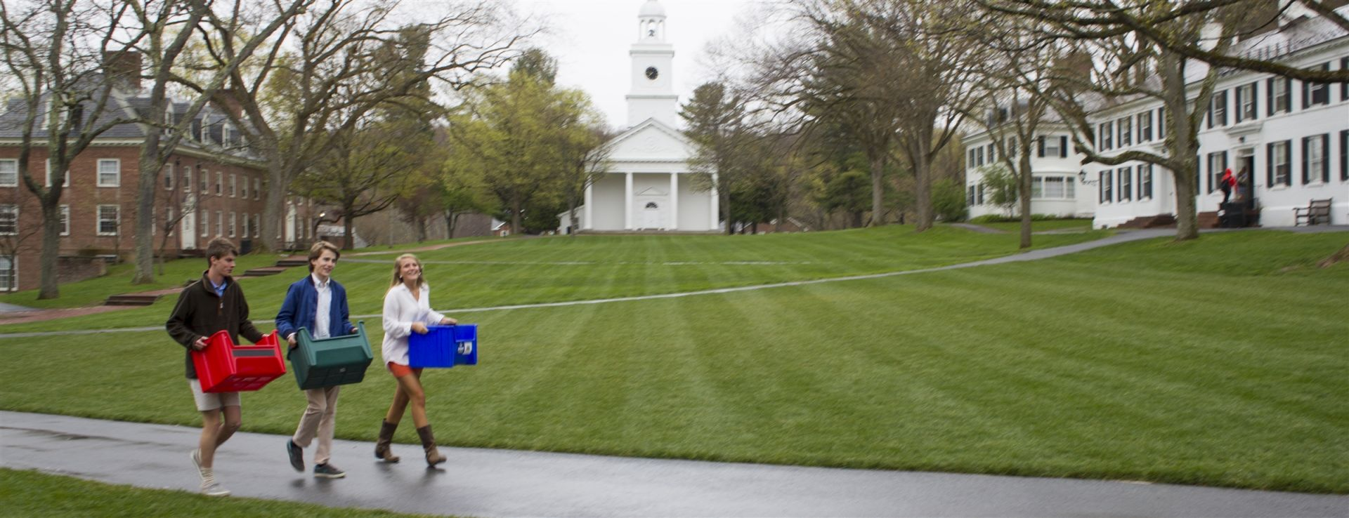 Students transport recycables during Community Service, a vital component to the Millbrook experience since the inception of the school in 1931.