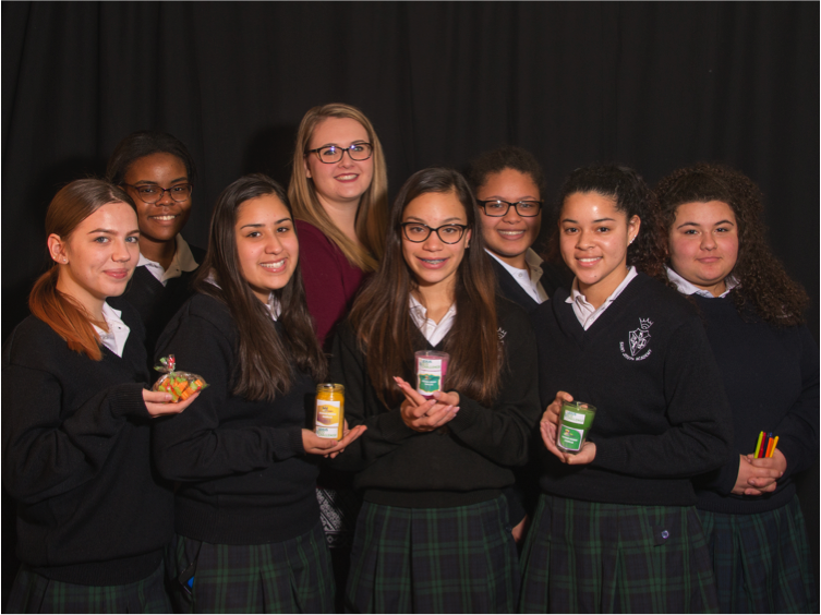 Front Row, L-R: Tatyjana Henry '18, Joslyn Muniz '18, Jadalise Pacheco '18, Alicia Valladares '18; Back Row, L-R Esther Ngemba '18, Science teacher Ms. Kristen Schuler, Angelia Johnson '18 and Stephanie Rolon '18; Not Pictured: Teacher Advisor Mrs. Mary Ellen Foley Scott '76