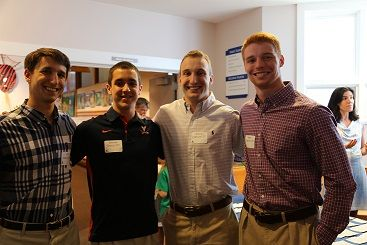 Alumni Jon Greco '04, Steve Greco '07, Klaus and Hans Vitzhum, both '07, at the retirement party for Cathy Gately in June 2014