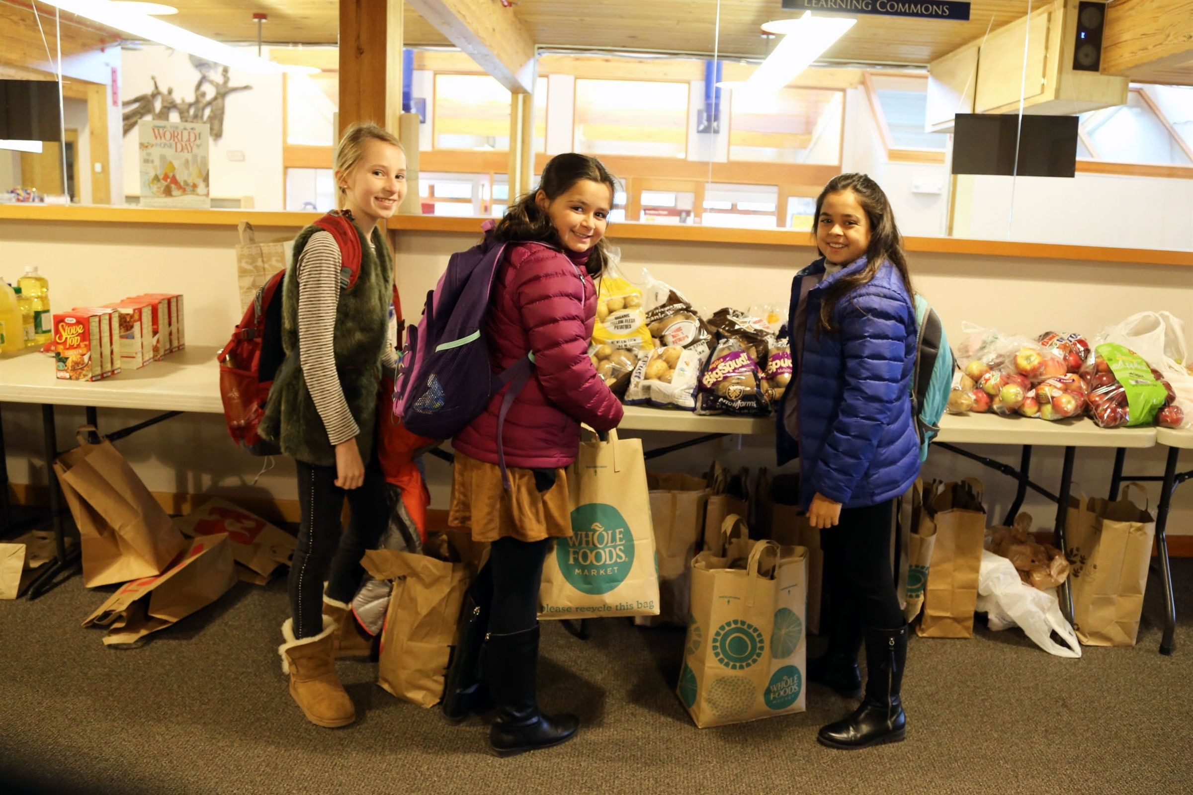 CRS students collect donations for the Needham Food Pantry.