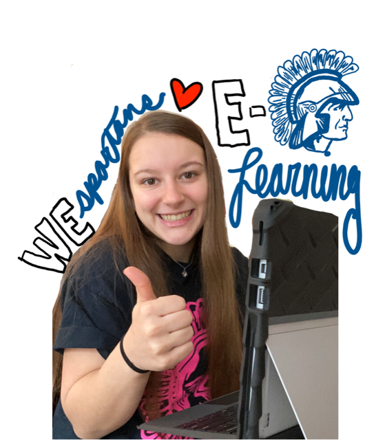 Female student smiling with a thumbs up - We Spartans heart e-learning