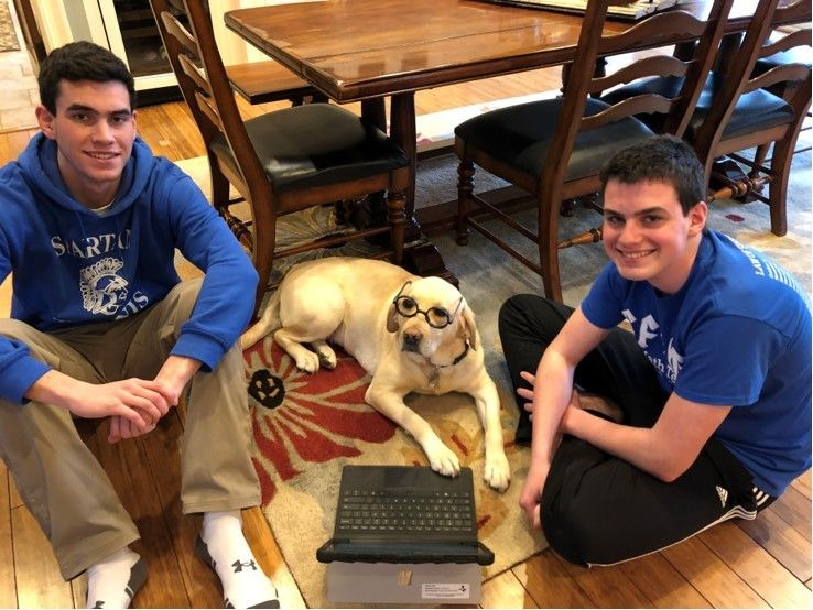 Male siblings with their dog during E-learning