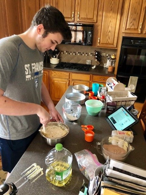 Male student cooking