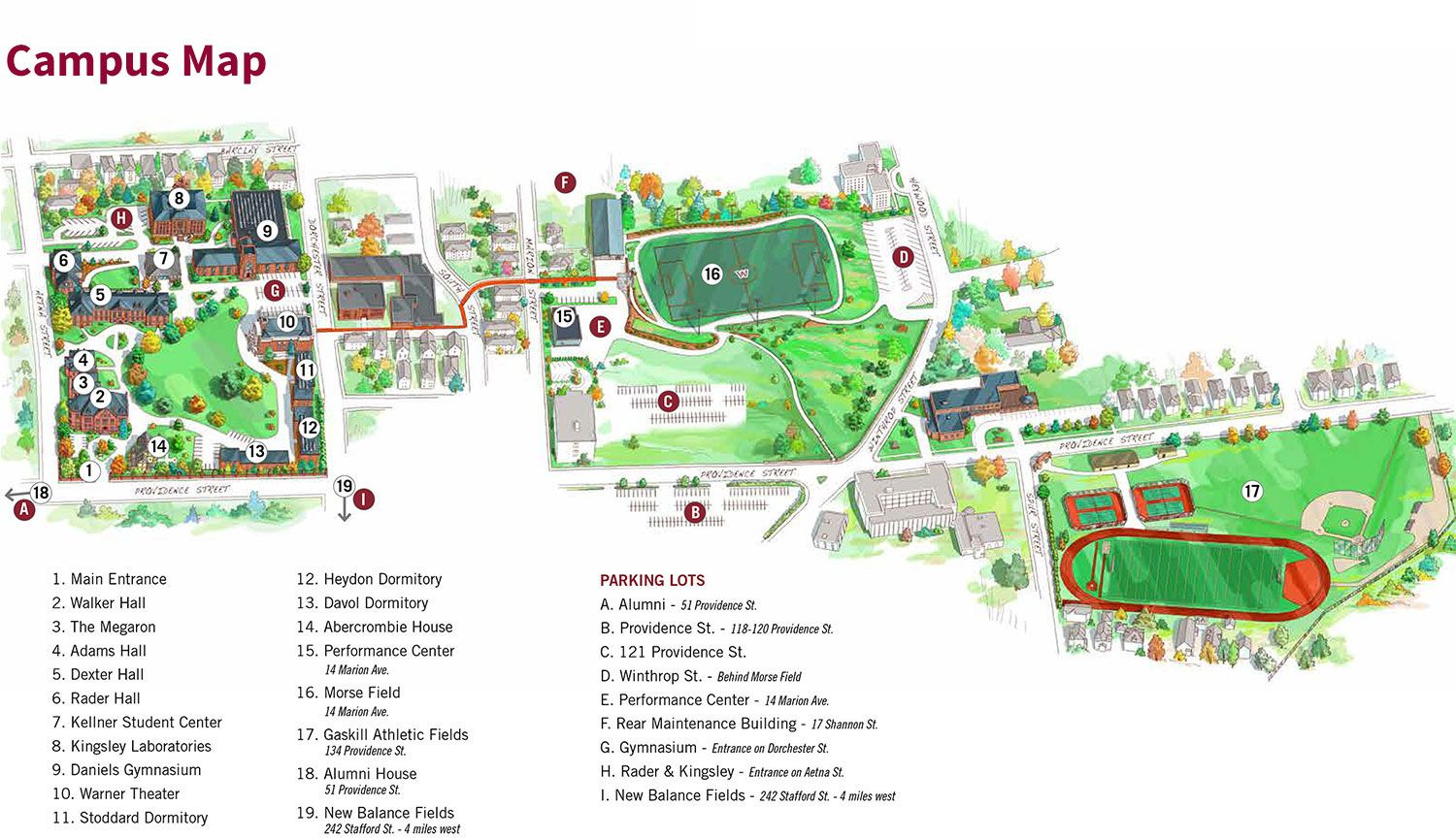 WA Campus Map w Parking & legend