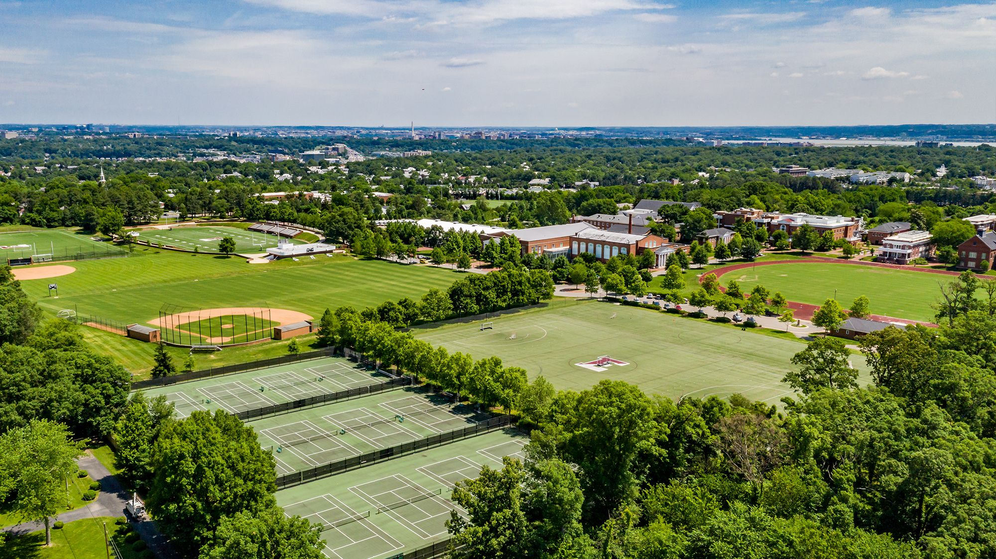 Shuford Tennis Courts, Greenway, and the Cooper Dawson Diamond