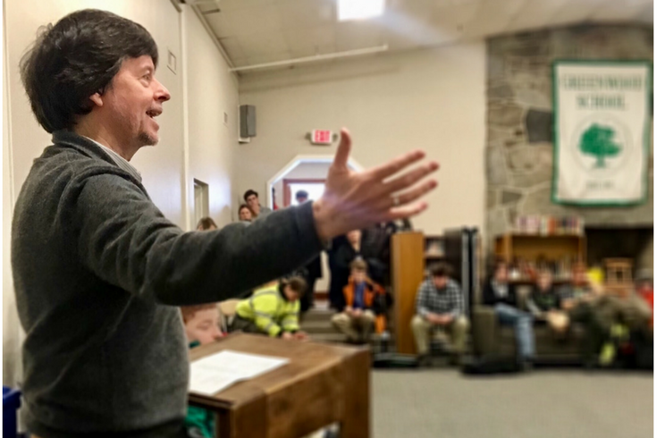 Filmmaker Ken Burns, encouraging Greenwood students preparing for the annual reciting of The Gettysburg Address.