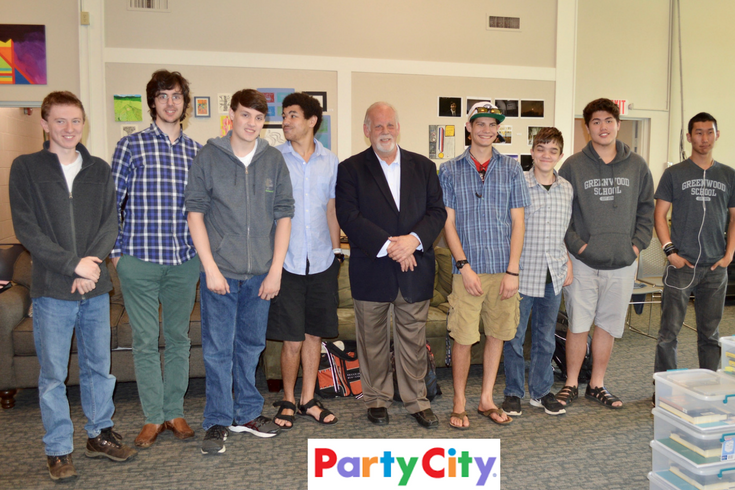 "Gerry Rittenberg, CEO of Party City, talks with Greenwood boys about his ""dyslexic advantage."""