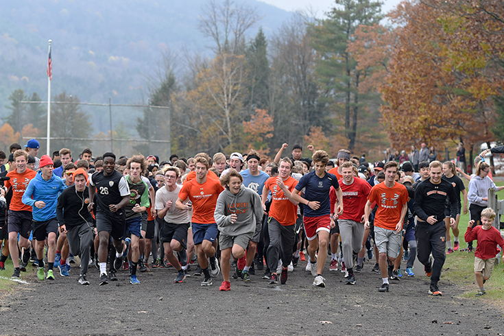 In late October, Vermont Academy hosts its annual Pumpkin Run to raise awareness for hunger. The 5K follows our campus trails, and the entire community participates -- including faculty, children, and pets! Each participant brings at least one non-perishable food item for our local community kitchen. The top runners win a pumpkin pie baked by our very own dining hall.