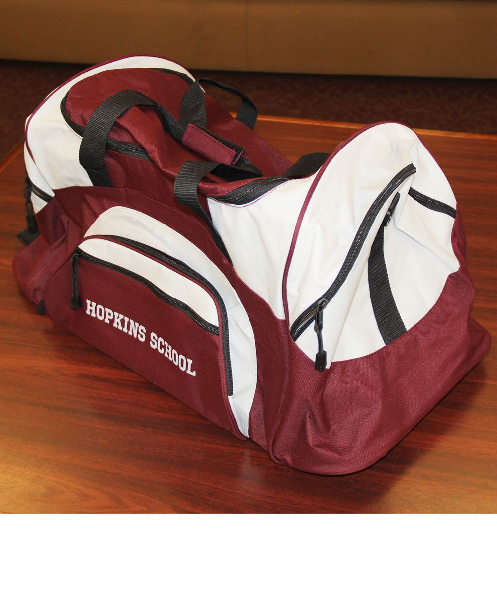 A nice size (between a medium and large) maroon and gray with Hopkins School on side - $46.00
