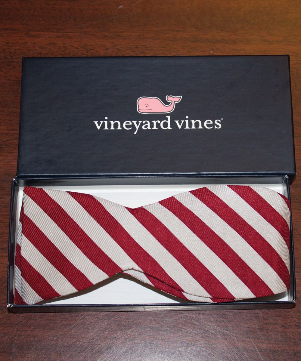 A requested companion to our popular Vineyard Vines neckties, this is similar to the gray and maroon striped tie.  Comes in its own smaller Vineyard Vines box. $38.00