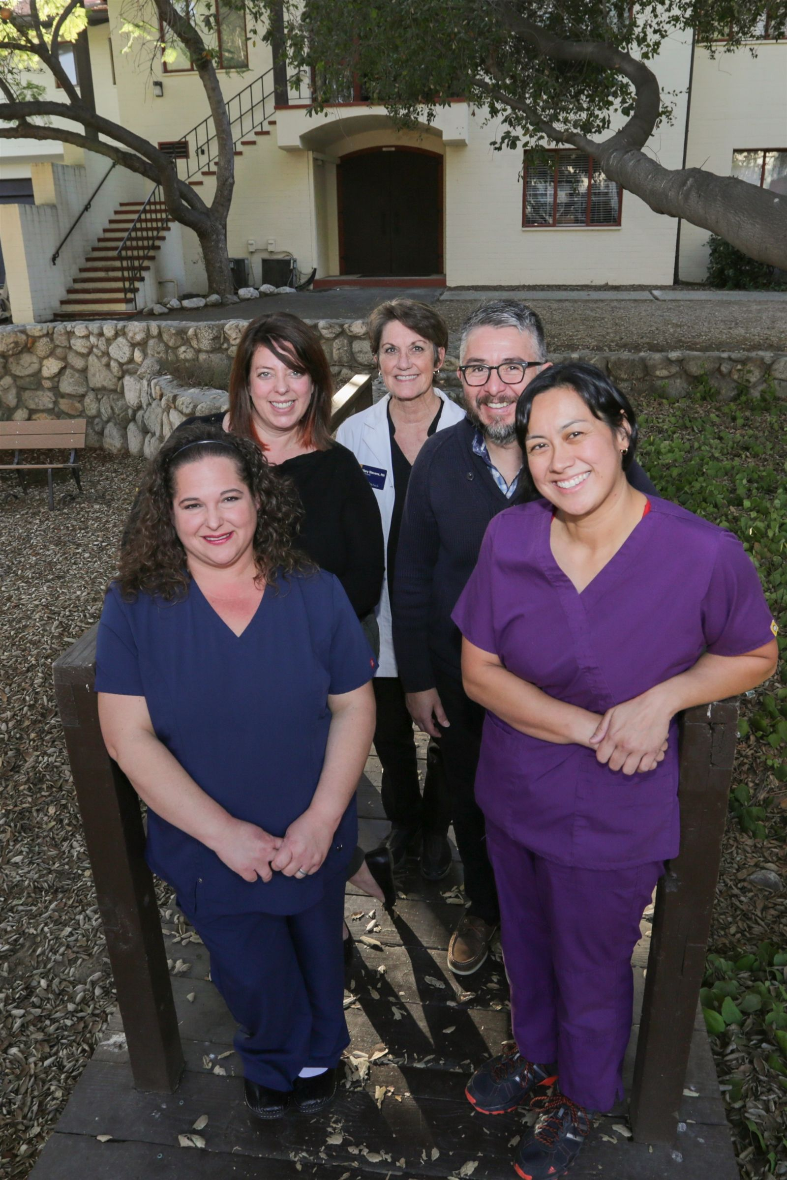 Health Center Staff (l-r): Amy Lopez RN, Melanie Bauman Director of Counseling, Mary Stevens RN, Daniel Rios Counselor, Stephanie Baron PA-C