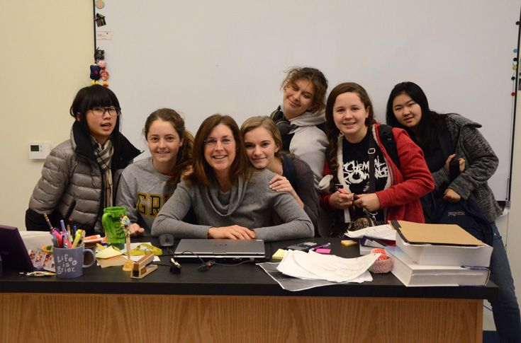 Mrs. Forest and her Physics class.