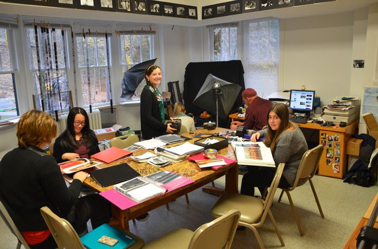 Students learn about the art and techniques of photography. They develop their own prints in the photography lab.