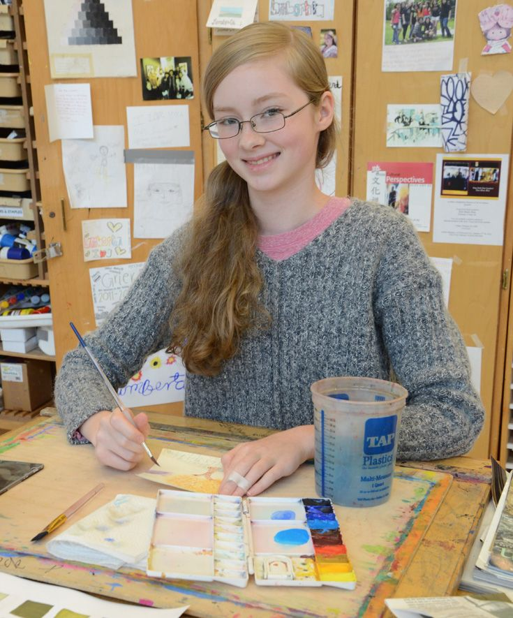 Learning about colors in watercolor class.