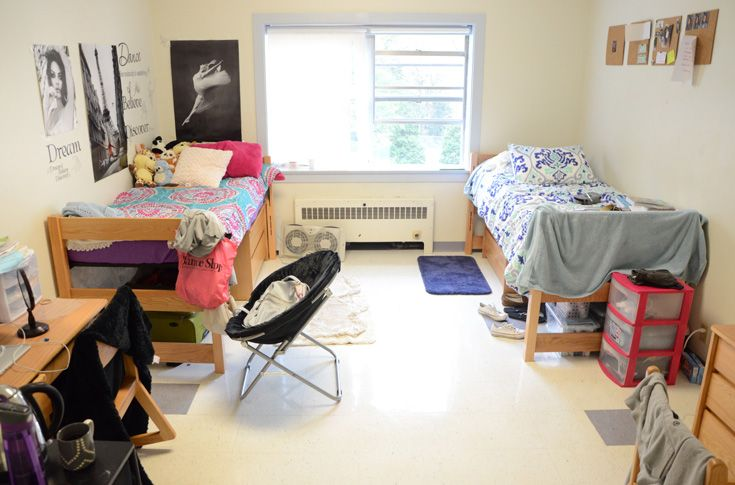 Dorm rooms are typically shared by two students.