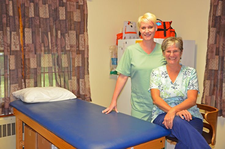 The Health Center is staffed by trained nurses and  features exam rooms and patient beds.