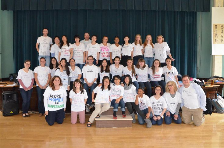 "Human rights club, Empowering Girls Globally (EGG), leads the student body and faculty in expressing their dreams for future women and gender equality. Shirts expressed sentiments such as ""More Women in Government"" and ""Equal Pay."""