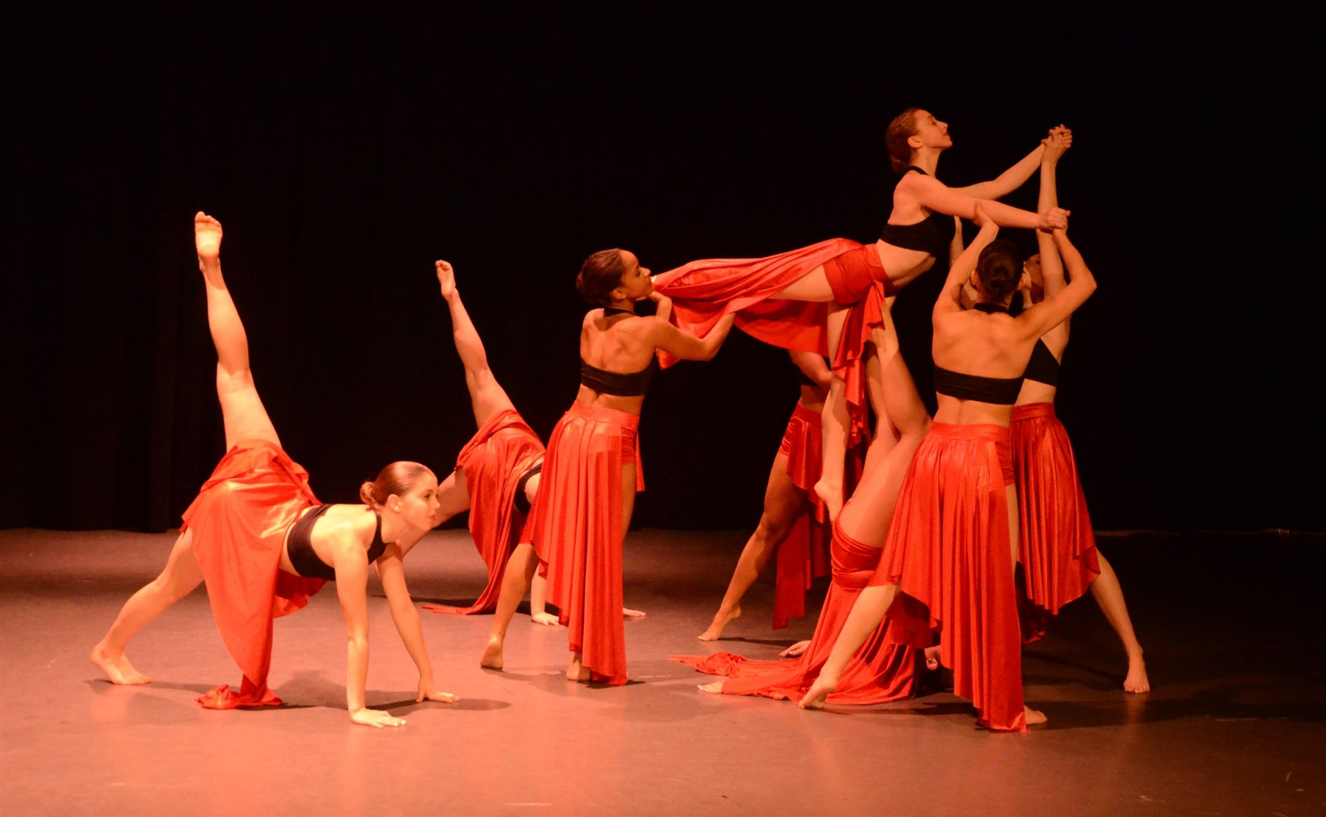 Girls in the pre-professional program take ballet, modern, jazz, and contemporary classes.