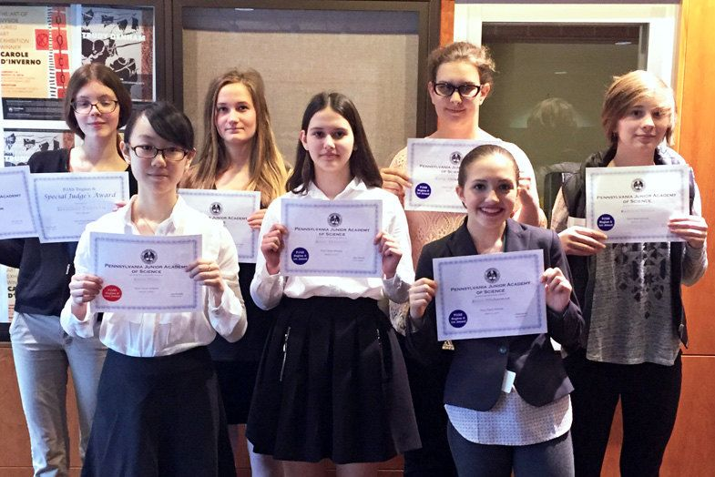 Winning competitors in the Pennsylvania Junior Academy of Science's Regional Competition.