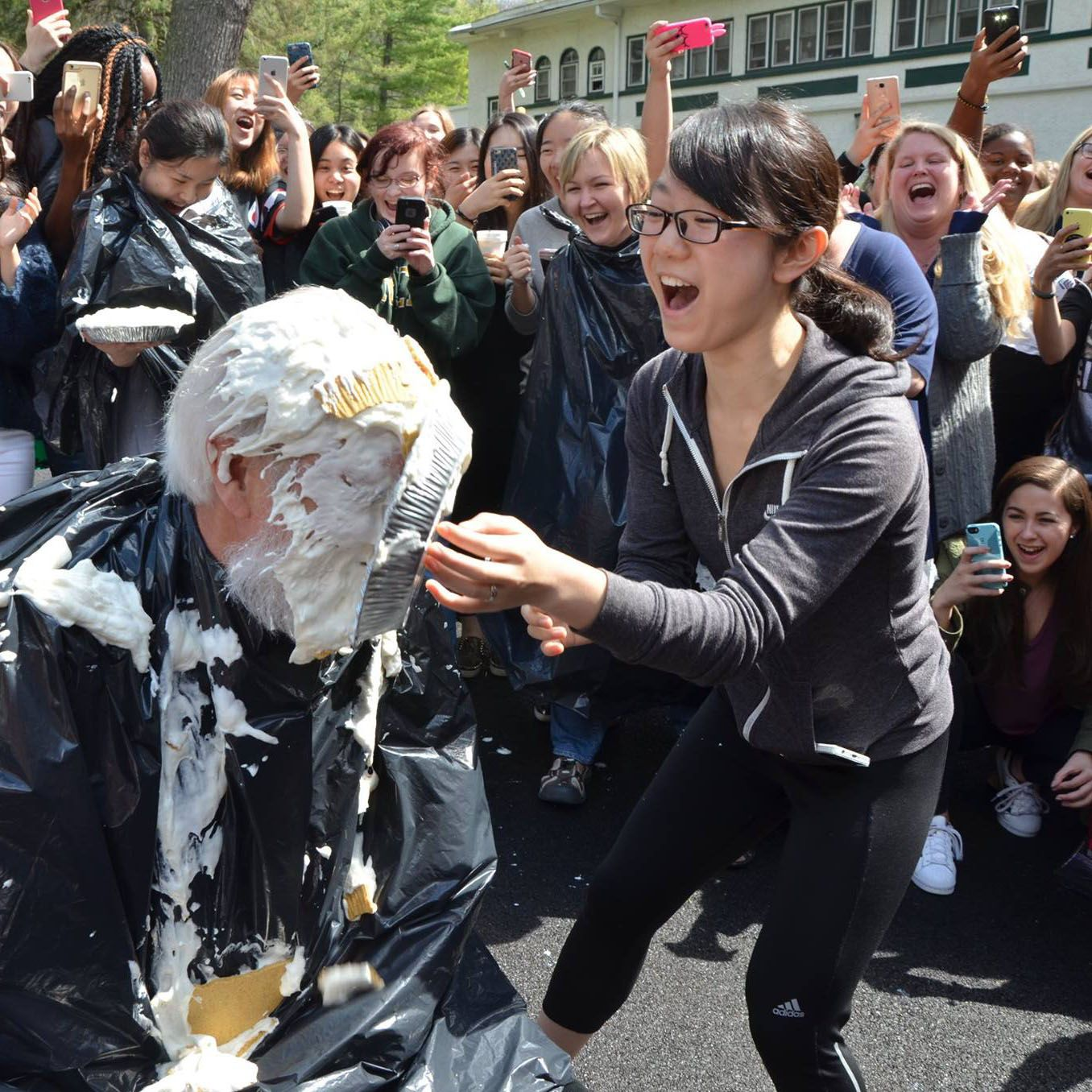 Teachers take pies-to-the-face to help fundraise for the Senior Trip.